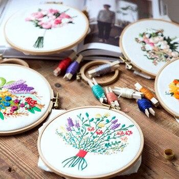 Conjunto de bordado de flores y Patrón de planta, punto de cruz, imagen colgante artesanal con aro bordado e hilo de bordado de seda