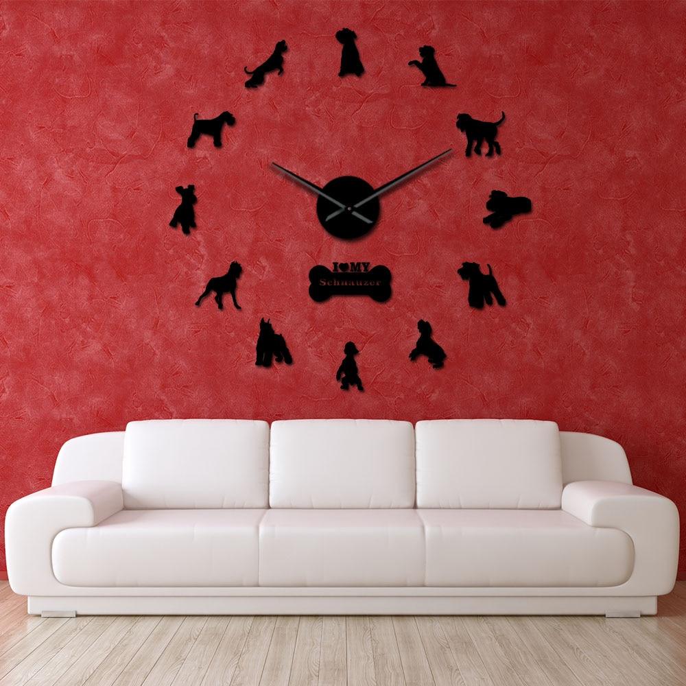 I Love My Schnauzer Dog Breeds DIY Large Wall Clock Schnauzer Dog Decorative Stickers Watch Pet Vet Wall Decor Dog Oweners Gifts