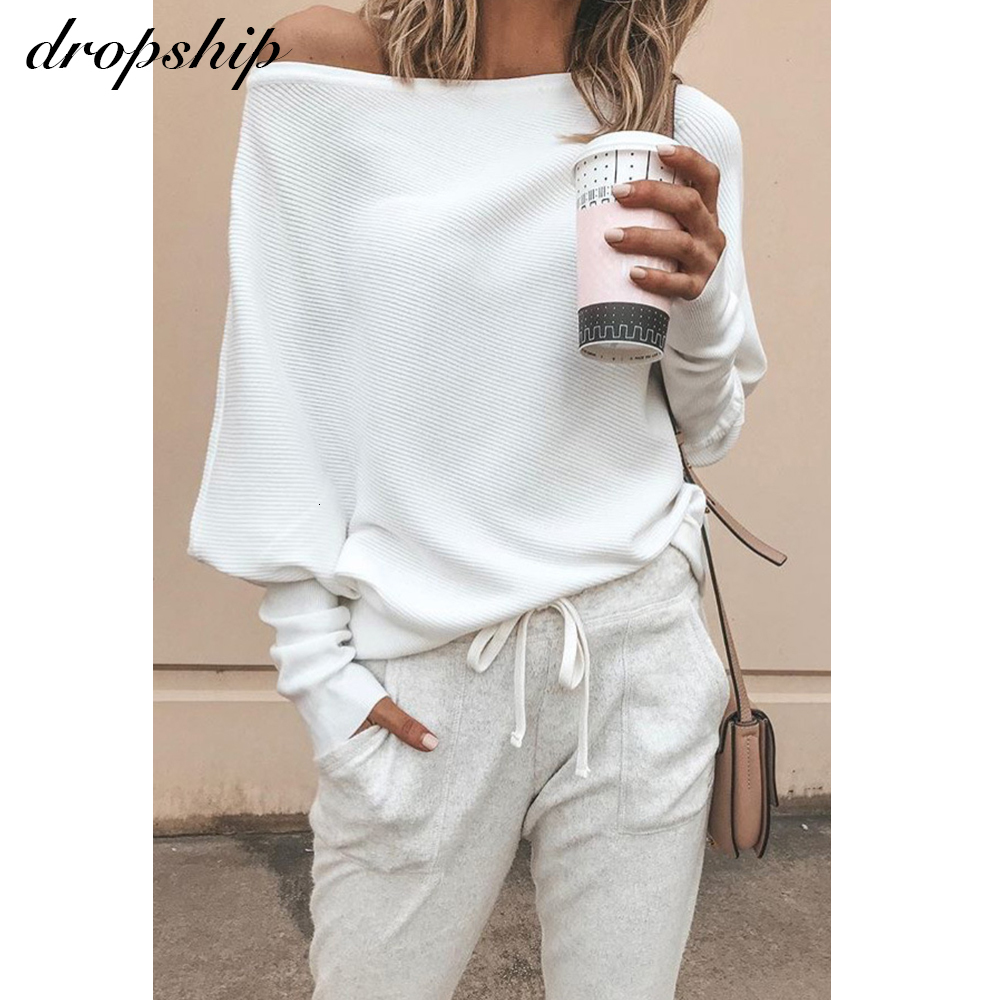 Dropship Sweater Women Sweaters Oversized Jumper Fashion 2019 Cashmere Winter Pullover Off Shoulder Black White Autumn Winter