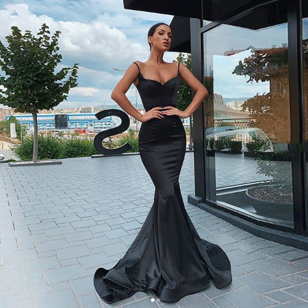 Prom Party Evening Dresses Vestido De Noiva Sereia Gown Dress Robe De Soiree Vestido Novia Playa Strapless Black Mermaid Sweet