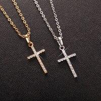 Collar de Cruz sencillo para hombre y mujer, colgante de cruz de Jesús de cristal de Color dorado y plateado, regalo de joyería para pareja, venta al por mayor