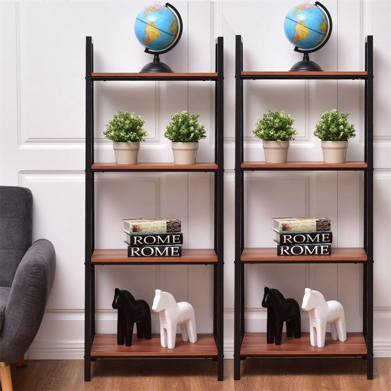 2 pcs 4-Tier Modern Ladder Bookshelf Steel MDF Bookcases HW55458