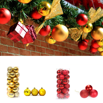 24Pcs 100% Brand New And High Quality Christmas Glitter Multiple Colour Balls Baubles Xmas Tree Hanging Ornament Christmas Decor image