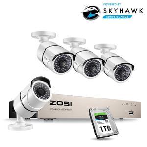 Image 1 - ZOSI جديد 1080P (1920x1080p) POE نظام الأمن الفيديو و (4) 2 ميجابيكسل في الهواء الطلق رصاصة كاميرات اي بي مع 100ft للرؤية الليلية