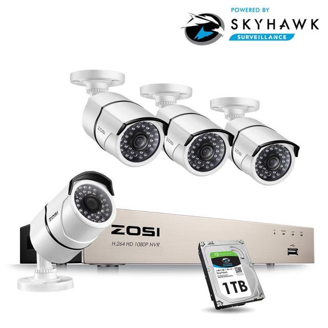 ZOSI جديد 1080P (1920x1080p) POE نظام الأمن الفيديو و (4) 2 ميجابيكسل في الهواء الطلق رصاصة كاميرات اي بي مع 100ft للرؤية الليلية