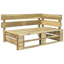 Banco esquinero para palés de jardín, madera