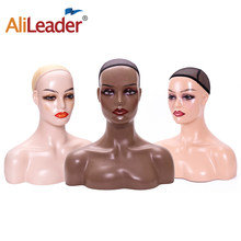 Alileader Female Pvc Training Maninequin Head Bust Realistic Fashion Wigs Stand With Shoulders 3Colors Avaliable Display Head(China)