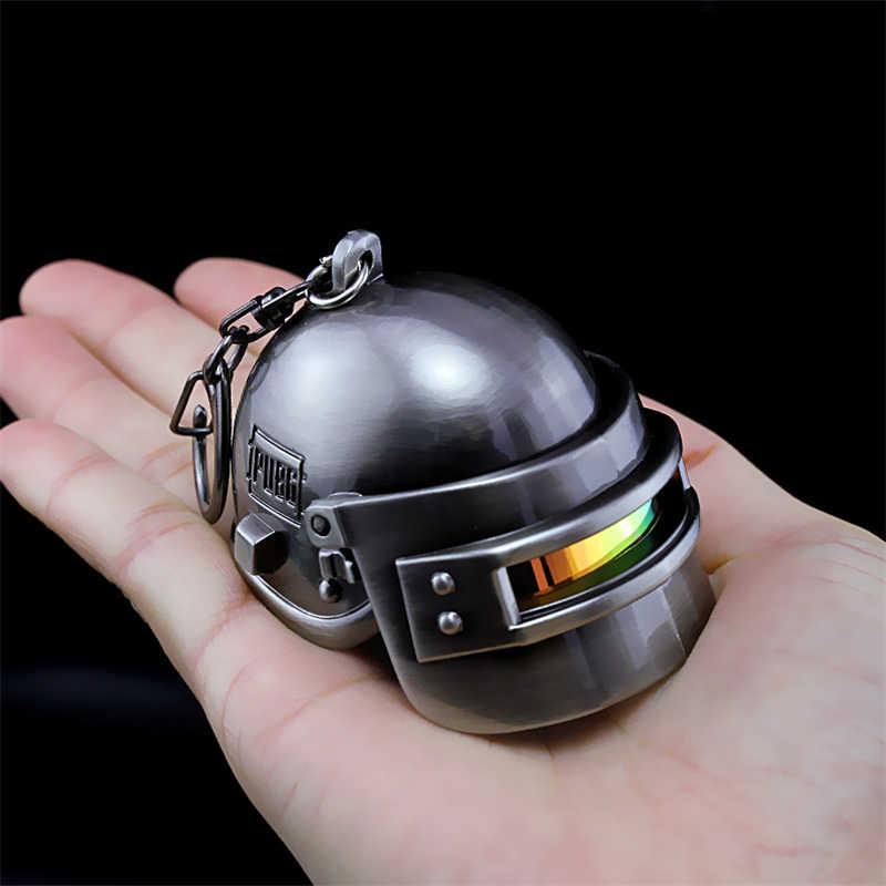 Clássico jogo playerunknowns campos de batalha pubg cosplay adereços armadura nível 3 capacete pingente chaveiro colar chaveiro chaveiro
