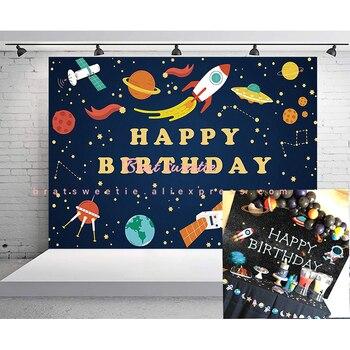 Fondo de decoración de fiesta espacio exterior, astronauta, cohete, Planeta, Galaxia, Sistema Solar, Baby Shower para niños, Fondo para fiesta de cumpleaños