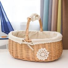 Picnic Wicker Rattan Basket Fruit Storage Box Snacks Tea Bags Food Woven with Lid