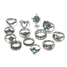 13 Pcs/Set Punk Ring Elephant Turtle Heart Flower Crown Gem Crystal Silver Joint Ring Female Fashion Party Ring Set Bohemian Rin(China)
