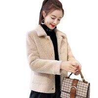 2019 New Female Mink fur Short Coat Full sleeve Pockets warm Outerwear autumn winter Casual Faux Mink Jacket Office Ladies coat