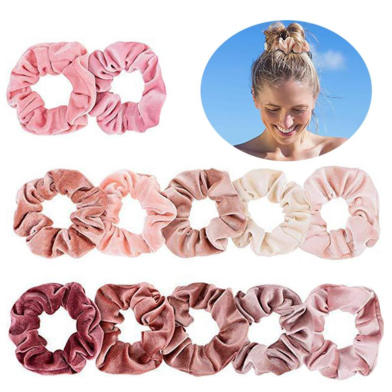 coxeer 12Pcs/Set Velvet Pink Hair Rope Hair Scrunchy Fashion Elastic Ponytail Holder Hair Band Headwear Hair Accessories