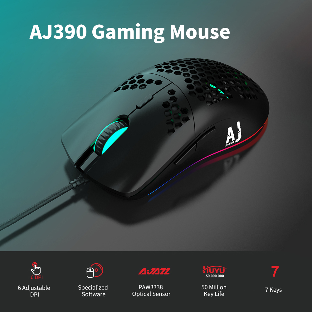 Original Ajazz Gaming Mouse AJ390 USB Wired With 7 Keys Adjustable 16000DPI Ergonomic Design Hollowed-out Honeycomb Design White