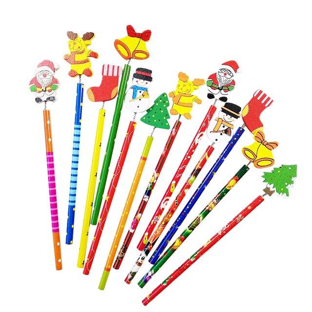 60 قطعة/الوحدة عيد ميلاد سعيد شكل أقلام خشبية هدية للأطفال سانتا كلوز الكرتون الخشب مكتب القرطاسية المدرسة