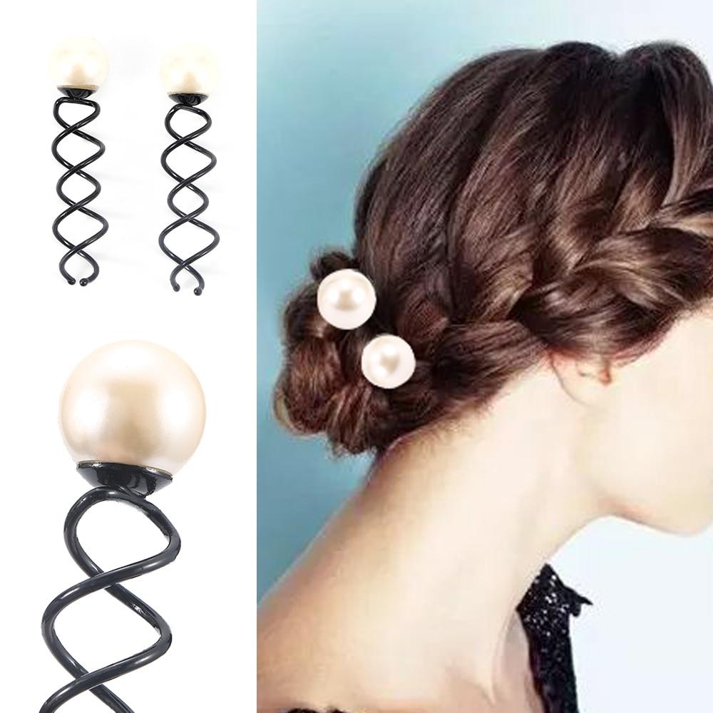 Women Girls Pearl Spiral Spin Screw Bobby Hair Pins Clips Twist Barrette Maker Tool Hair Accessories