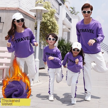 Parent-child Matching Outfit Winter The Whole Family Family of Three Sports Leisure Suit Family Clothing Active Cotton Sets