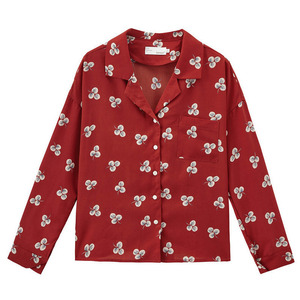 Image 5 - INMAN Spring Autumn Retro Young Girl Literary Turn Down Collar Red Print All Matched Women Blouse
