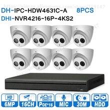 大華6MP 16 + 8セキュリティcctvシステム8個6MP ipカメラIPC HDW4631C A & 16POE 4 18k nvr NVR4216 16P 4KS2監視セキュリティ