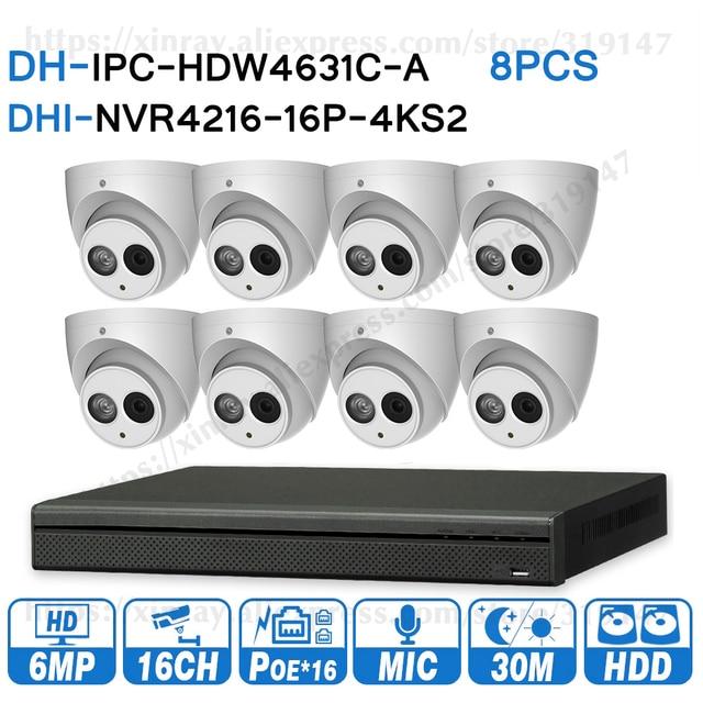 Dahua 6MP 16 + 8 An Ninh Hệ Thống Camera Quan Sát 8 Cái 6MP IP IPC HDW4631C A & 16POE 4K NVR NVR4216 16P 4KS2 giám Sát An Ninh