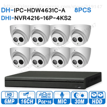 Dahua 6MP 16+8 Security CCTV System 8PCS 6MP IP Camera IPC HDW4631C A & 16POE 4K NVR NVR4216 16P 4KS2 Surveillance Security