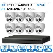 Dahua 6mp 16 + 8 sistema de cctv segurança 8 pces 6mp câmera ip IPC HDW4631C A & 16poe 4k nvr NVR4216 16P 4KS2 vigilância segurança