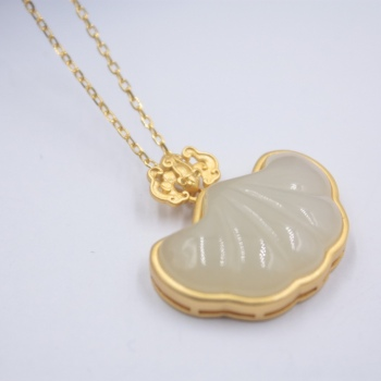 Sterling S925 Silver Pendant For Women Hetian Jade Lucky Bat Ingots Female Pendant Chain Jewelry