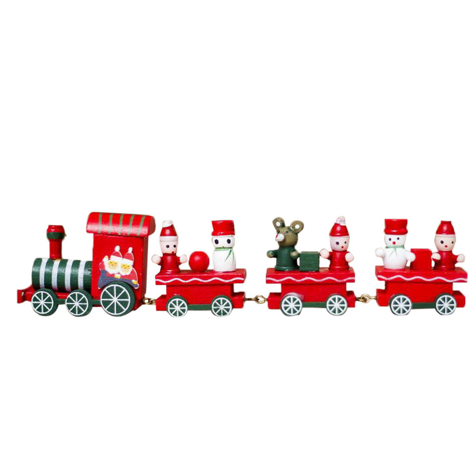 Green 1 Pc Christmas Wooden Train Decor Christmas Kids Mini Wooden Train Toy for Party Kindergarten Decoration