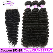 CRANBERRY Hair Deep Wave Human Hair Bundles With Closure 4 pcs/lot Brazilian Hair Weave Bundles With Closure Remy Hair Extension(China)