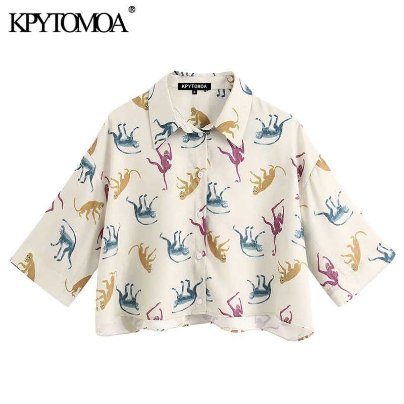 KPYTOMOA Women 2020 Fashion Animal Print Cropped Blouses Vintage Lapel Collar Short Sleeve Female Shirts Blusas Chic Tops