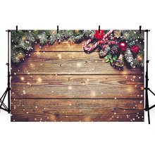 Mehofond Christmas Backdrop Dark Brown Wood Board Glitter Snowflake Bells Baby Portrait Photography Background for Photo Studio