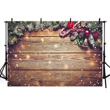 Mehofond عيد الميلاد خلفية بني داكن سبورة خشبية بريق ندفة الثلج أجراس الطفل صورة التصوير خلفية لاستوديو الصور