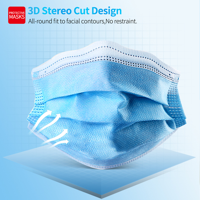 100 Pcs Face Mouth Mask 3-Ply  Disposable Non-woven Masks Anti-Pollution filter safe Breathable Mask Protect Mascherine Mascara 5