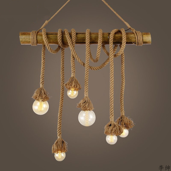 Nordic Vintage Hemp Rope Pendant Lights for Cafe Hanging Retro Bamboo Pendant Lamp Kitchen Fixtures Industrial Decor Luminaires