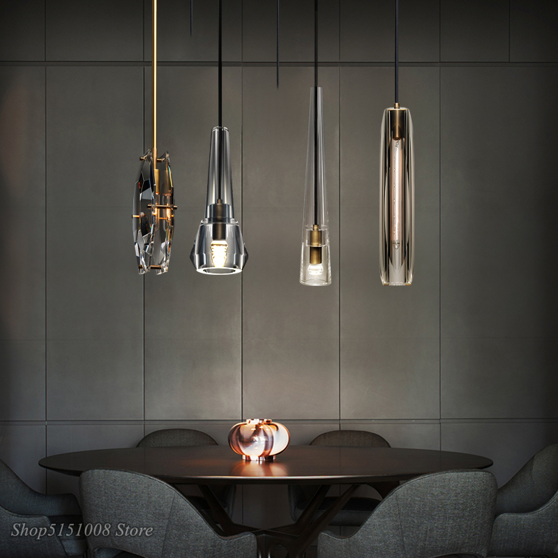 Nordic Luxury LED Crystal Pendant Lights Modern Living Room Copper Hanging Lamp Bedroom Bedside Dining Room Suspend Lamp Fixture