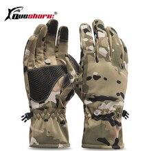 QUESHARK зимние камуфляжные охотничьи перчатки теплые противоскользящие рыболовные перчатки водонепроницаемые перчатки с сенсорным экраном для катания на лыжах и кемпинга
