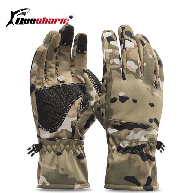 Queshark Women Men Winter Camouflage Hunting Gloves Warm Anti-slip Fishing Gloves Waterproof Touch Screen Skiing Camping Gloves 1