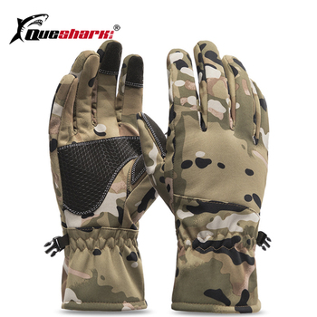 QUESHARK Winter Camouflage Hunting Gloves Warm Anti-slip Fishing Gloves Waterproof Touch Screen Skiing Camping Gloves