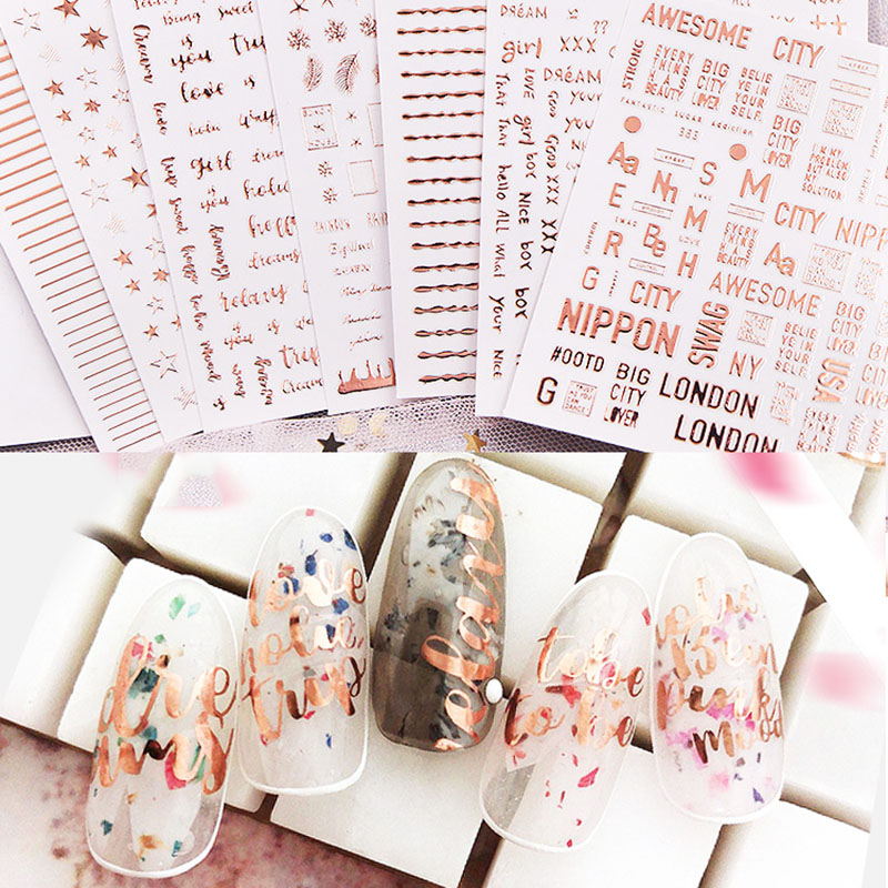 1 Sheets Letter Word Design 3D Nail Art Sticker Rose Gold Star  Adhesive Self Nail Art Stickers Decals