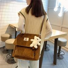 2021 New Products Corduroy Korean Shoulder Bag for Female Students Japanese Large Capacity Women Satchel Single Shoulder Bag