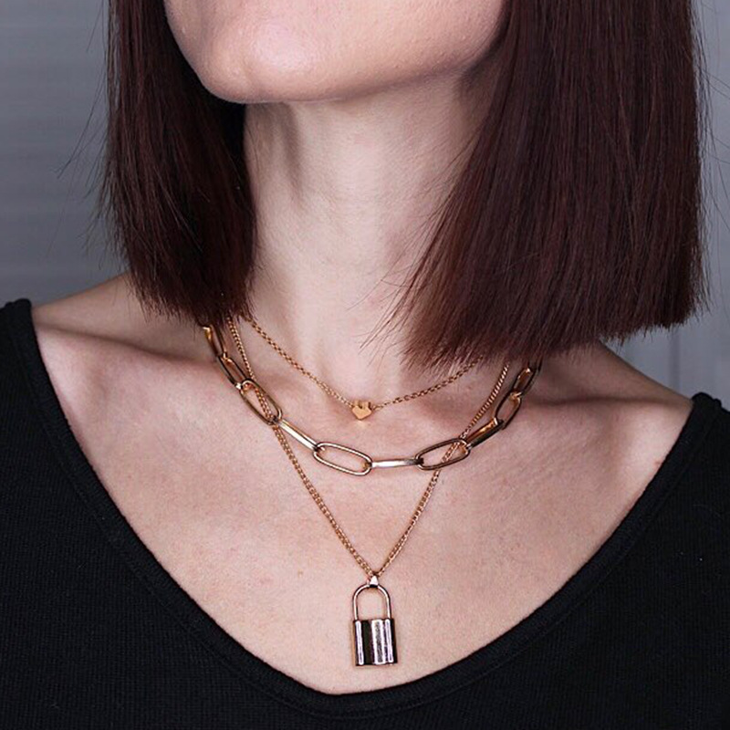 Fashion Gold Silver Color Heart Choker Lock Pendant Necklace for Women 2020 Trendy Jewelry Necklaces Female Clavicle Chain