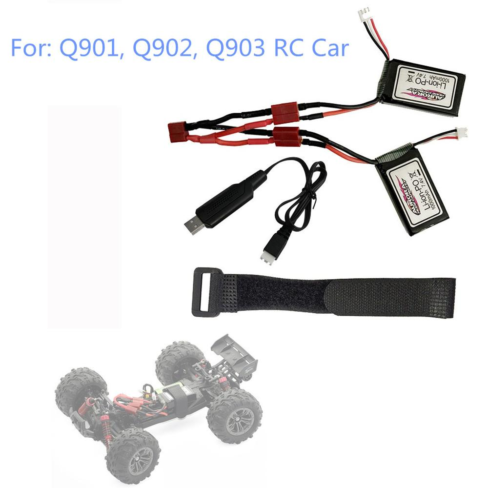 RC <font><b>Car</b></font> <font><b>Parts</b></font> For :Q901 Q902 Q903 1/16 2.4G RC <font><b>Car</b></font> <font><b>Parts</b></font> 7.4V 1000MAH Lipo Battery + Dual <font><b>Electric</b></font> Link Cable +Strap + USB Cable image