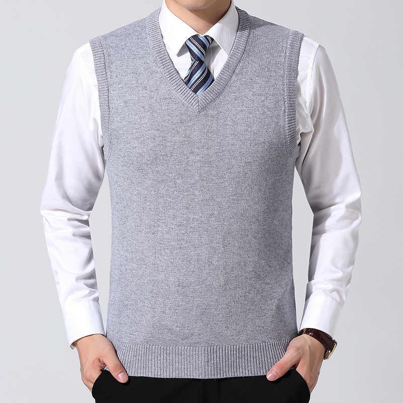 남성 의류 단색 가을 겨울 따뜻한 양모 풀오버 클래식 캐주얼 v-목 남성 민소매 조끼 스웨터 블랙 레드 그레이