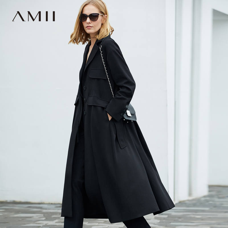 Amii Minimalism Winter Black Lapel Windbreaker High Waist Loose Coat 11897011