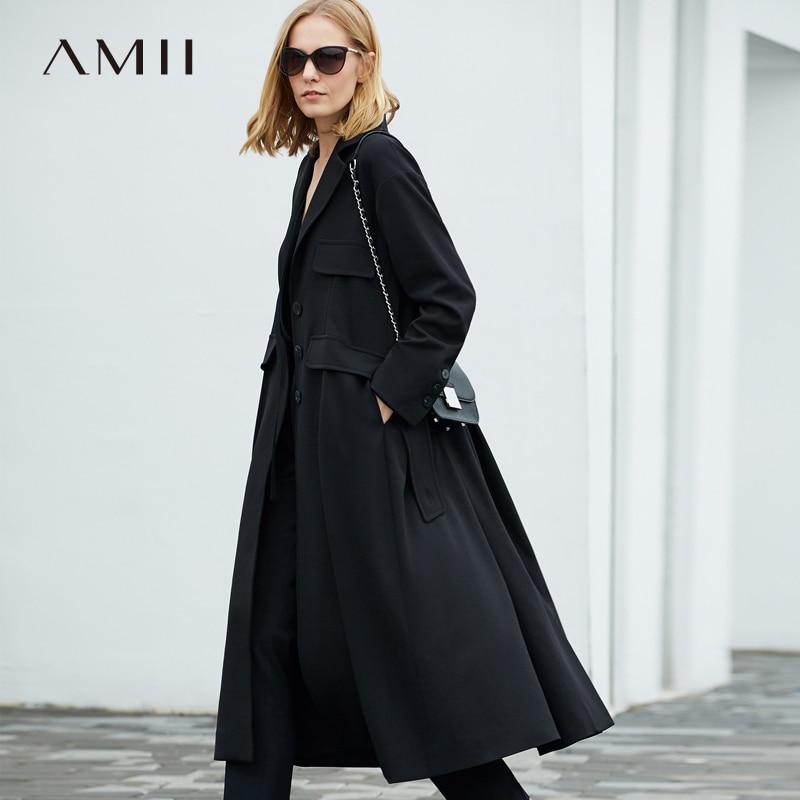 Amii Minimalism Winter Black Lapel Windbreaker High Waist Loose Coat 11897011