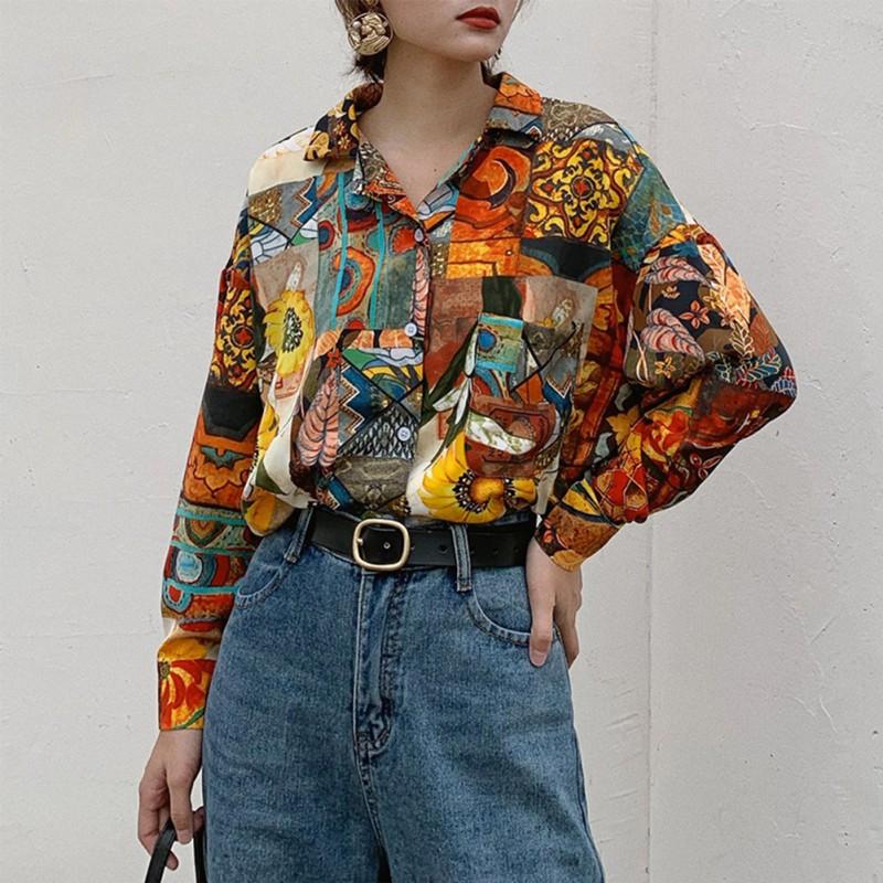 Women Retro Sunflower Print Shirt Oil Painting Print Design Blouse Girl Loose Lapel Tops and Blouses 2020 New