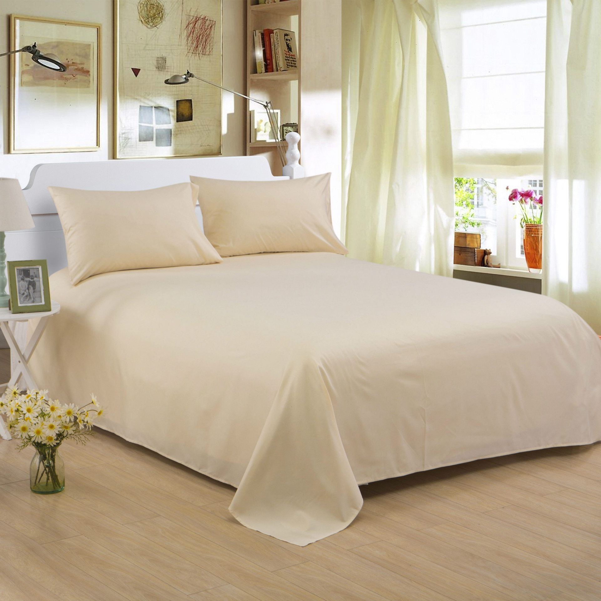 ropa de cama Solid color polyester cotton bed sheet hotel home soft brushed flat sheet queen bed cover not included pillowcase 7