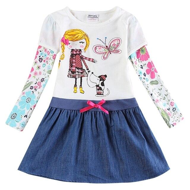 Платье с длинными рукавами для девочек, 100% хлопок, осень, новая детская одежда, вышитая фигура для девочек, платья с длинными рукавами, H5926D