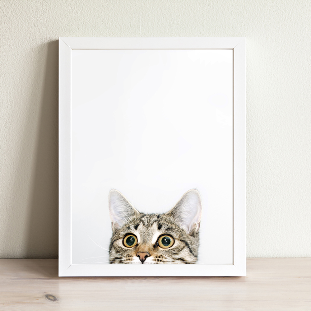 Allenjoy Funny Cats Posters Cute Animals Portrait Black and White Baby Room Paintings Minimalist Cartoon Pets Bedroom Wall Art in Painting Calligraphy from Home Garden