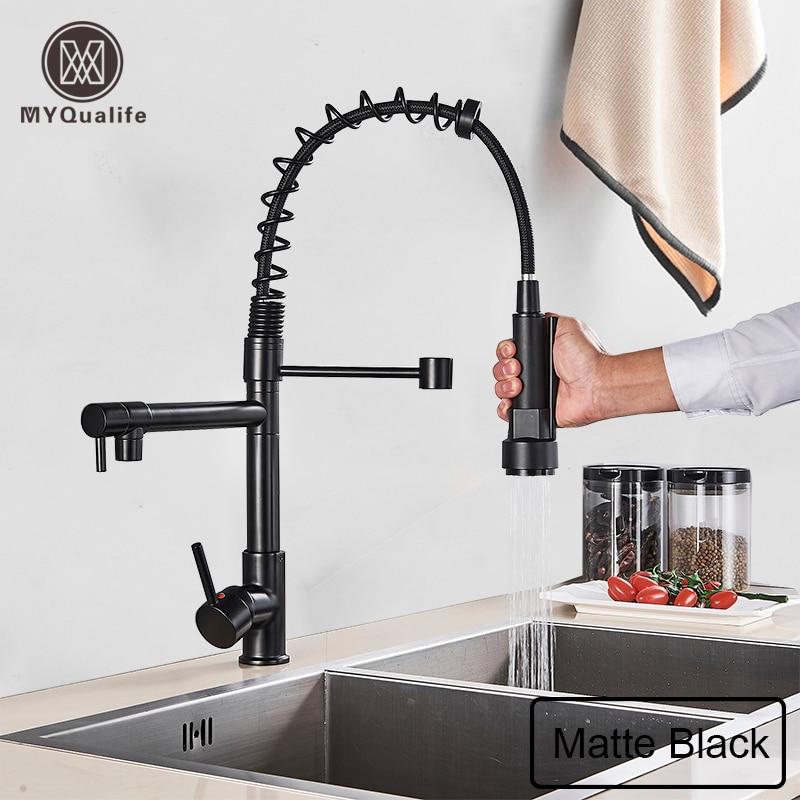Spring Pull Down Matte Black Kitchen Mixer Faucet Deck Mounted Dual Spout   Kitchen Sink Crane Taps Handheld Sprayer Shower Head